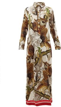 Aura Owl Print Silk Crepe Dress - Womens - Ivory Multi