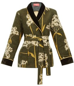 Plutone Velvet Trim Floral Jacquard Jacket - Womens - Green Multi
