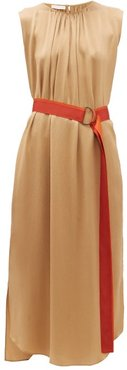 Oriole Gathered Neck Hammered Silk Dress - Womens - Gold