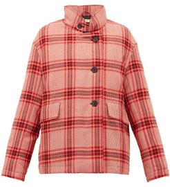 Checked Padded Wool Jacket - Womens - Pink Multi