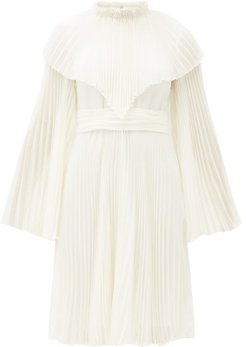 Pleated Silk-chiffon Dress - Womens - Ivory