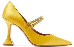 Mary Jane Crystal-embellished Satin Pumps - Womens - Yellow