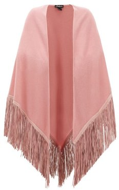Suede-fringed Cashmere Shawl - Womens - Pink