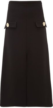 Moonshadow Split Front Crepe Midi Skirt - Womens - Black