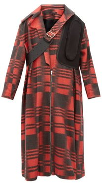 Leather Strap Wool Blend Coat - Womens - Black Red