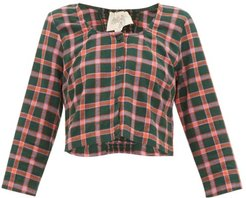 Imogen Checked Cotton Top - Womens - Green Multi