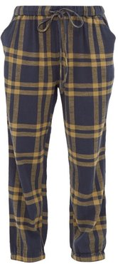 Tommy Checked Cuffed Cotton Track Pants - Womens - Navy Multi