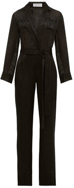Theodore Belted Leopard-devoré Wide-leg Jumpsuit - Womens - Black
