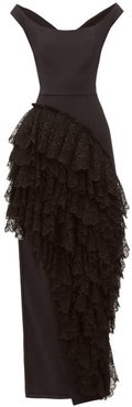 Ruffled Cotton Blend Crepe Gown - Womens - Black