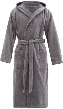 Hooded Cotton Terry Robe - Mens - Grey
