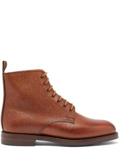 Barnwell Pebbled Leather Derby Boots - Womens - Tan