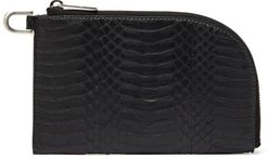 Glossed Snakeskin Pouch - Womens - Black
