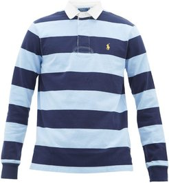 Striped Cotton Polo Shirt - Mens - Navy Multi