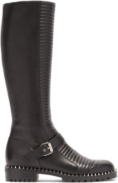 Meteorita Ribbed Leather Knee-high Biker Boots - Womens - Black