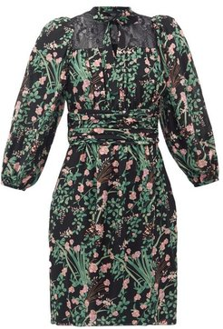 Pussy-bow Lace-trimmed Floral-print Silk Dress - Womens - Black Print