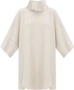 Moss-stitched Roll-neck Cashmere Poncho - Womens - Ivory