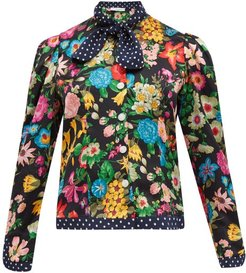 Mary Floral And Polka Dot Print Silk Blouse - Womens - Black Multi