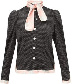 Mary Polka Dot And Floral Print Silk Satin Blouse - Womens - Black Pink