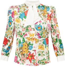 Dia Floral Print Silk Blouse - Womens - White Multi