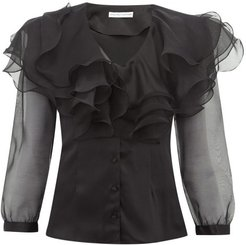 Olivia Ruffled Silk Satin Blouse - Womens - Black