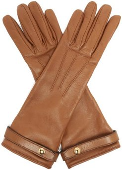 Leather Gloves - Womens - Brown