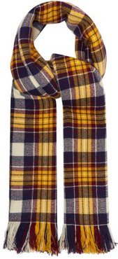 Carver Checked Cashmere Blanket Scarf - Womens - Yellow Navy