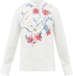 High-neck Floral-embroidered Linen Blouse - Womens - Cream