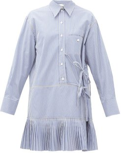 Pleated-hem Pinstripe Cotton-poplin Shirtdress - Womens - Blue White