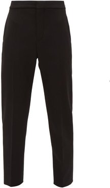 High Rise Cropped Wool Blend Trousers - Womens - Black