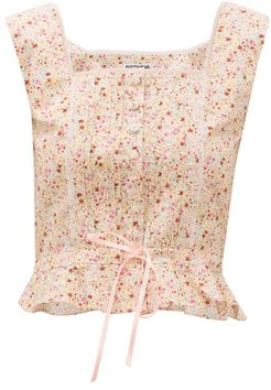 Amy Floral-print Cotton Bustier - Womens - Light Pink