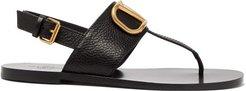 V-logo Flat Leather Slingback Sandals - Womens - Black