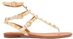 Rockstud Raffia And Leather Gladiator Sandals - Womens - Beige