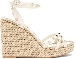 Torchon Rockstud Leather Wedge Sandals - Womens - Gold