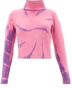 Highland Tie-dyed Cropped Cashmere Sweater - Womens - Pink