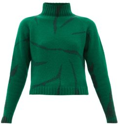 Lightning Cropped Tie-dyed Cashmere Sweater - Womens - Green