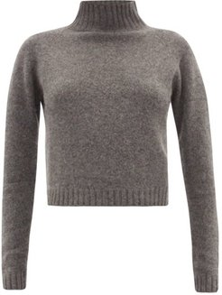 Highland Cropped Cashmere Sweater - Womens - Grey