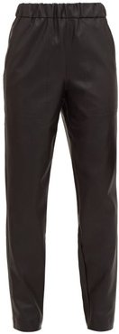 High-rise Faux-leather Trousers - Womens - Black