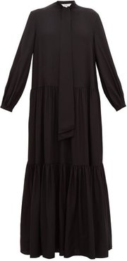 Pussy-bow Tiered Silk Maxi Dress - Womens - Black