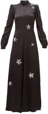 Ophelia Sequinned-star Satin Gown - Womens - Black