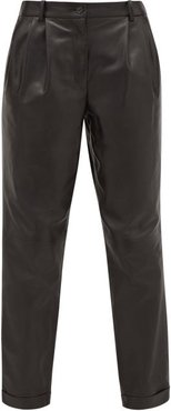 Montana Pleated Leather Trousers - Womens - Black