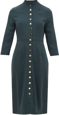 Juliette Buttoned Wool Crepe Dress - Womens - Dark Green