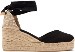 Chiara 60 Canvas & Jute Espadrille Wedges - Womens - Black