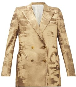 Everyday Double Breasted Metallic Jacket - Womens - Gold