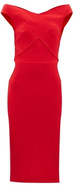 Amarula Off-the-shoulder Wool-crepe Dress - Womens - Red