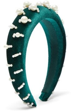Lili 1 Embellished Padded Velvet Headband - Womens - Green