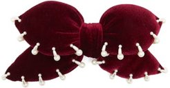 Bimba Oversized Plush Velvet Barrette - Womens - Burgundy