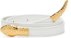 Snake-buckle Crossover Leather Belt - Womens - White Gold