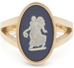 Wedgwood Ceramic Nymph & Gold Signet Ring - Womens - Navy