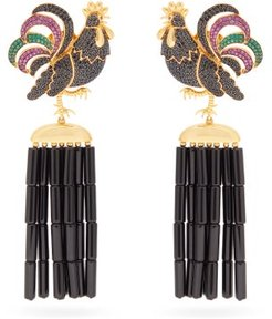 Rooster Napoleon Gold Plated Clip Earrings - Womens - Black Multi