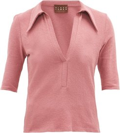 Point-collar Cotton-blend Terry Polo Shirt - Womens - Pink